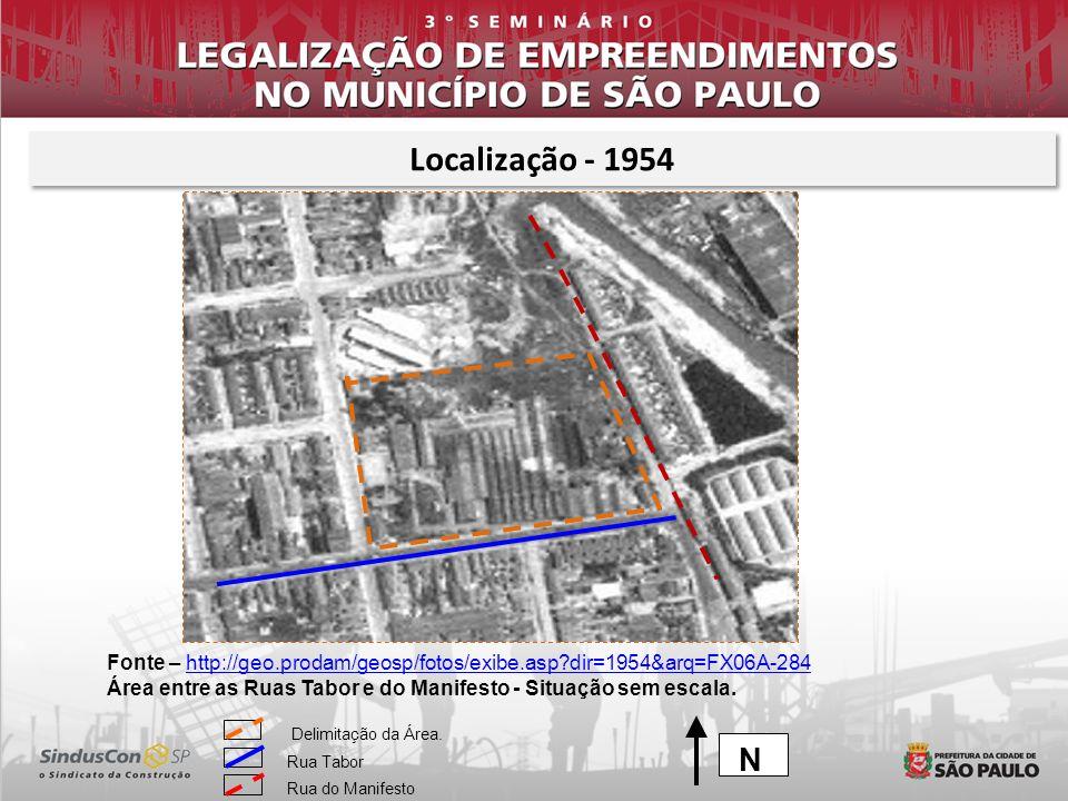 Localização - 1954 Fonte – http://geo.prodam/geosp/fotos/exibe.asp dir=1954&arq=FX06A-284.