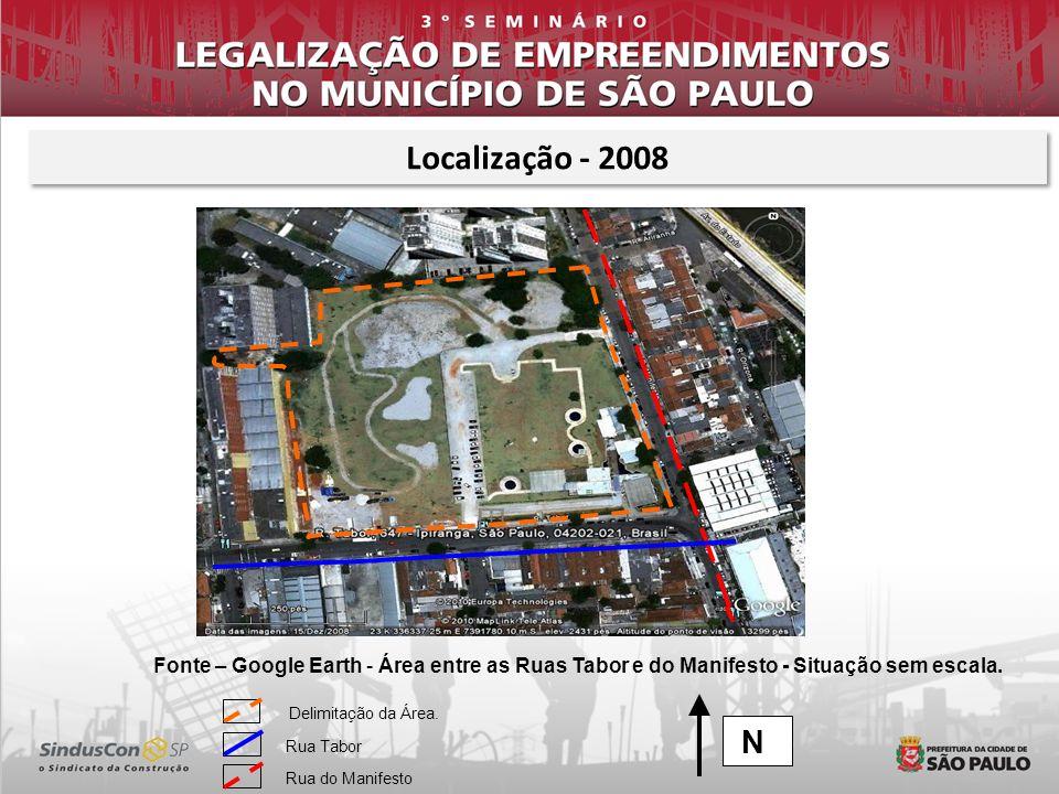 Localização - 2008 Fonte – Google Earth - Área entre as Ruas Tabor e do Manifesto - Situação sem escala.