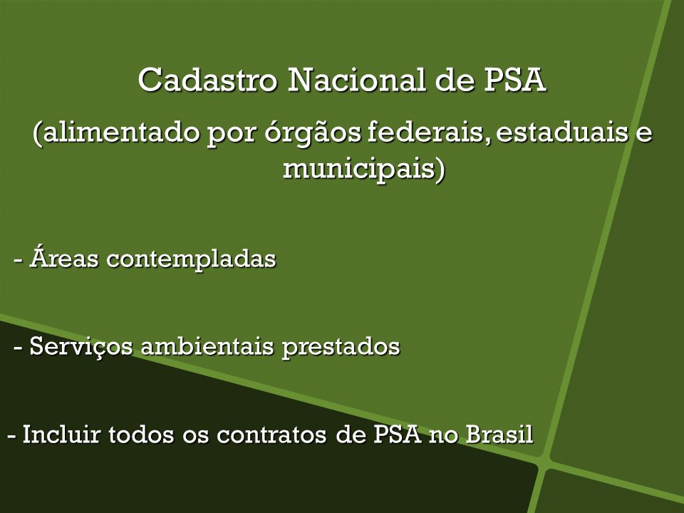 Cadastro Nacional de PSA