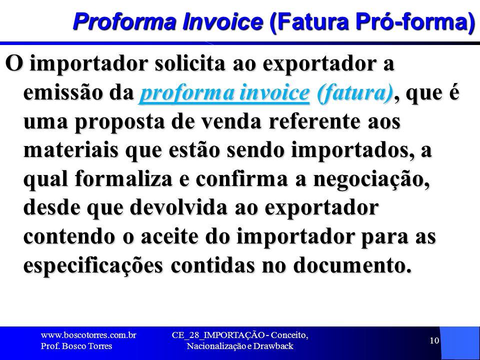 Proforma Invoice (Fatura Pró-forma)