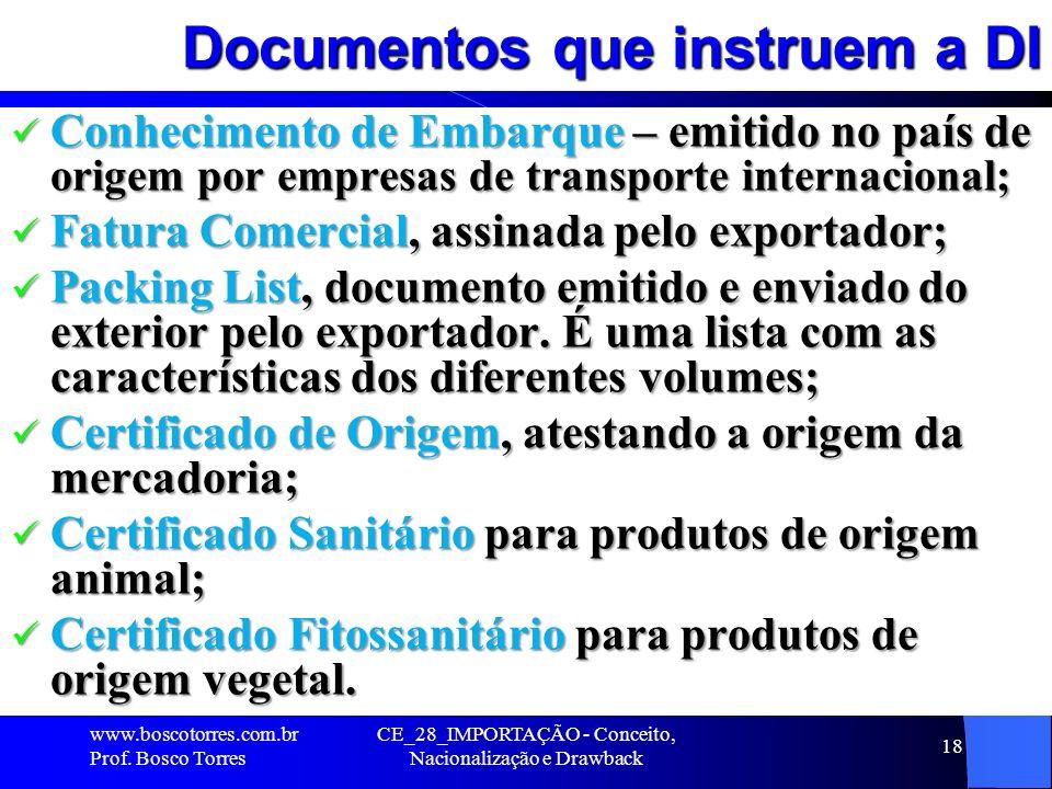 Documentos que instruem a DI