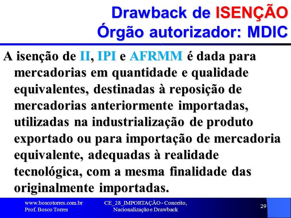 Drawback de ISENÇÃO Órgão autorizador: MDIC