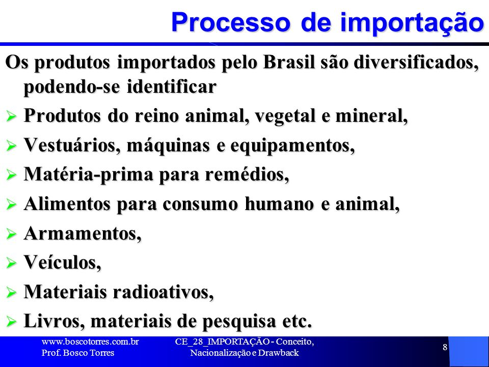 Processo de importação
