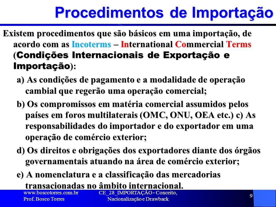 Procedimentos de Importação