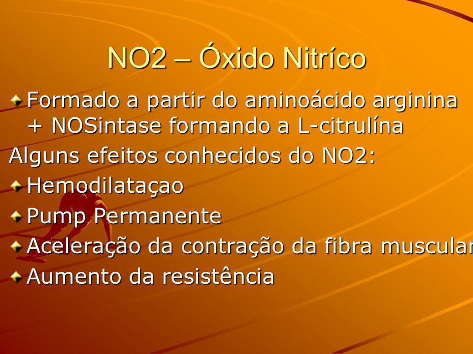 NO2 – Óxido NitrícoFormado a partir do aminoácido arginina + NOSintase formando a L-citrulína. Alguns efeitos conhecidos do NO2:
