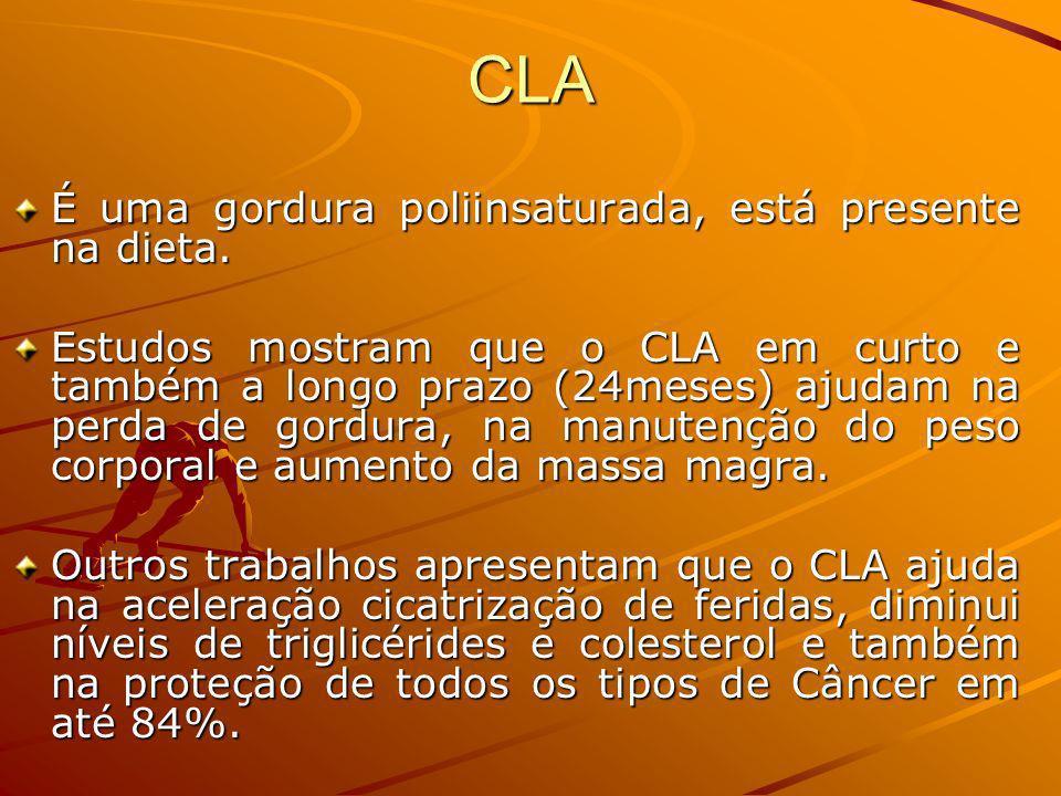 CLA É uma gordura poliinsaturada, está presente na dieta.