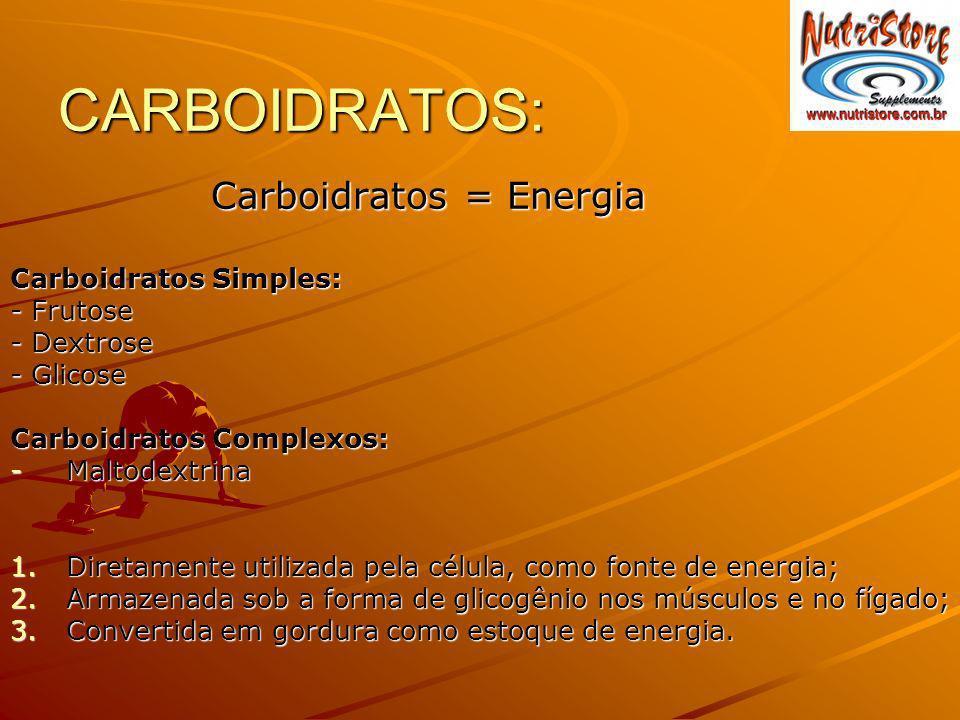 CARBOIDRATOS: Carboidratos = Energia Carboidratos Simples: - Frutose