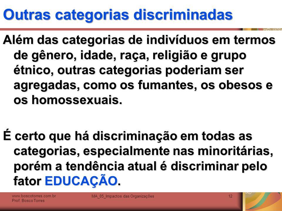 Outras categorias discriminadas