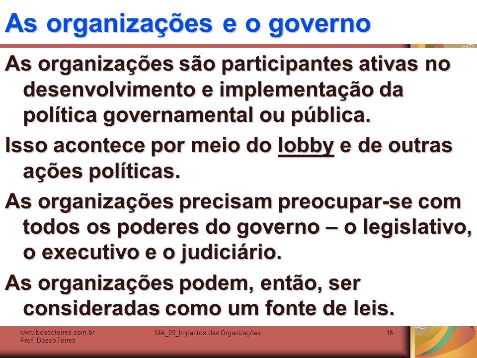 As organizações e o governo