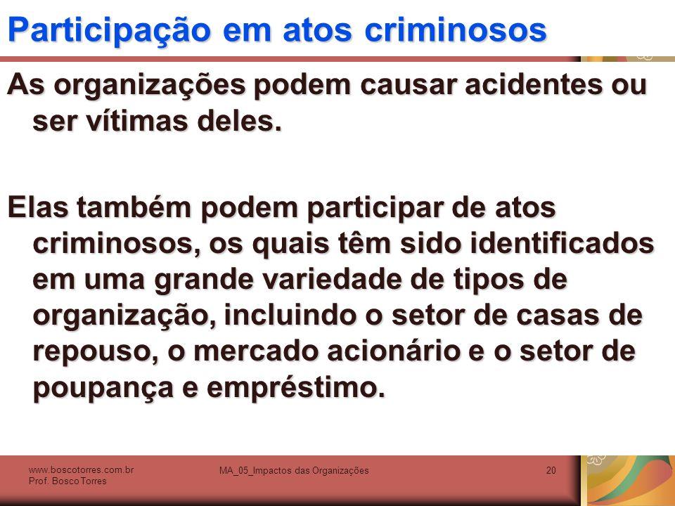 Participação em atos criminosos