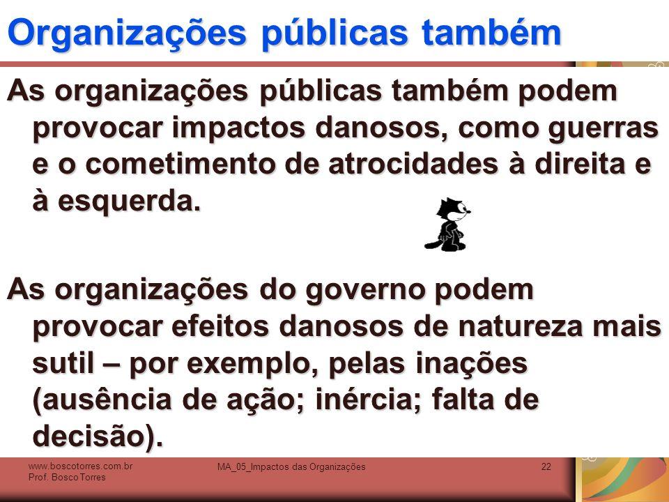 Organizações públicas também