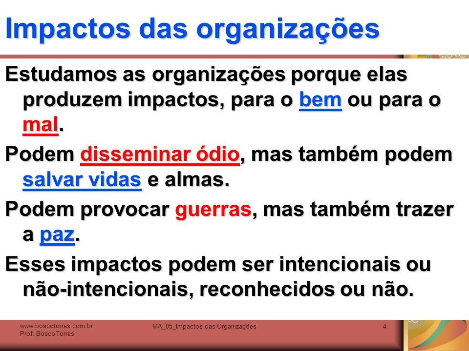 Impactos das organizações