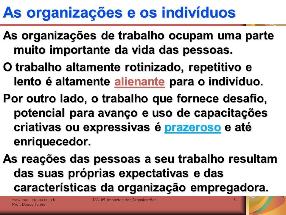 As organizações e os indivíduos