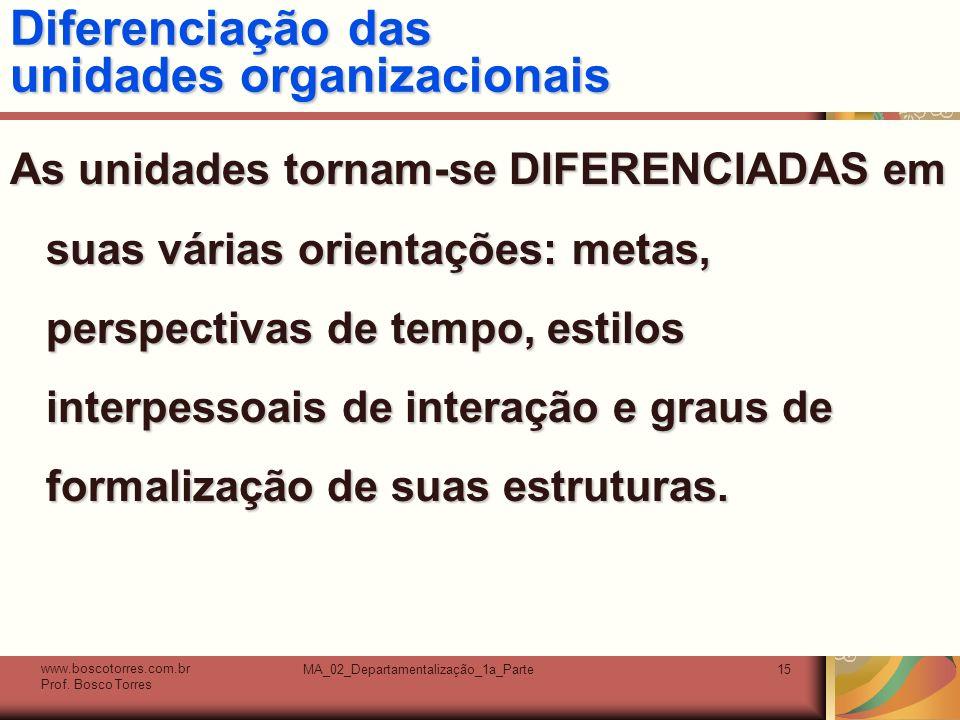 Diferenciação das unidades organizacionais