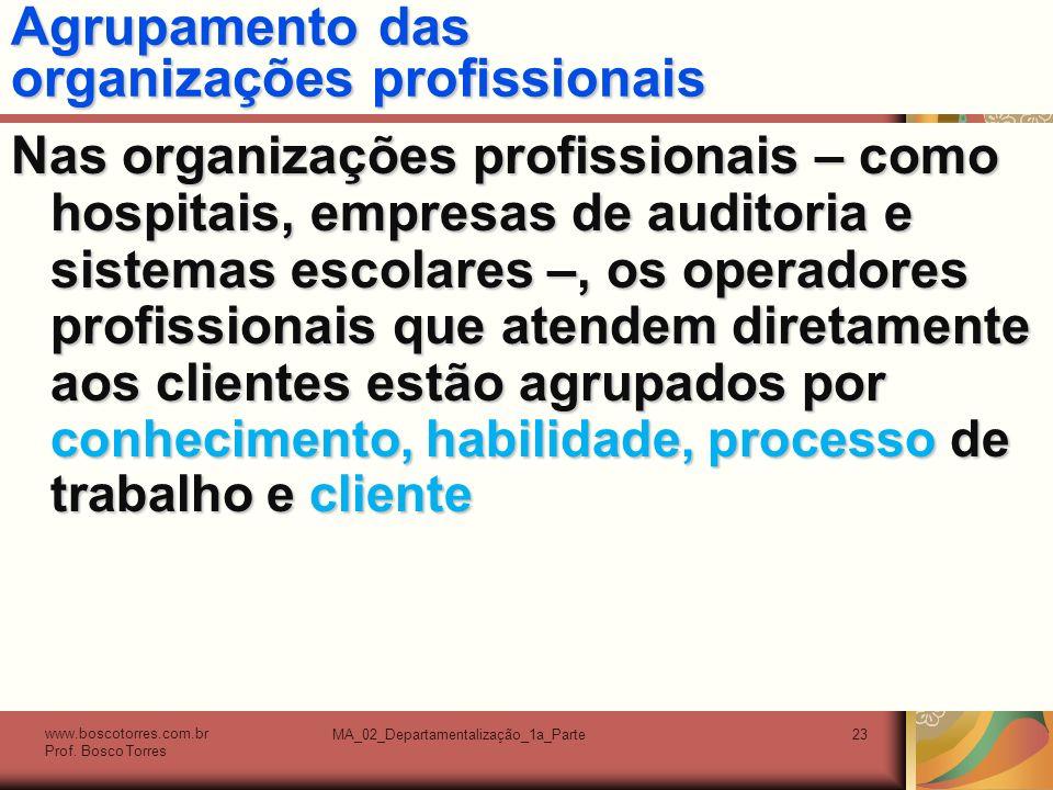 Agrupamento das organizações profissionais
