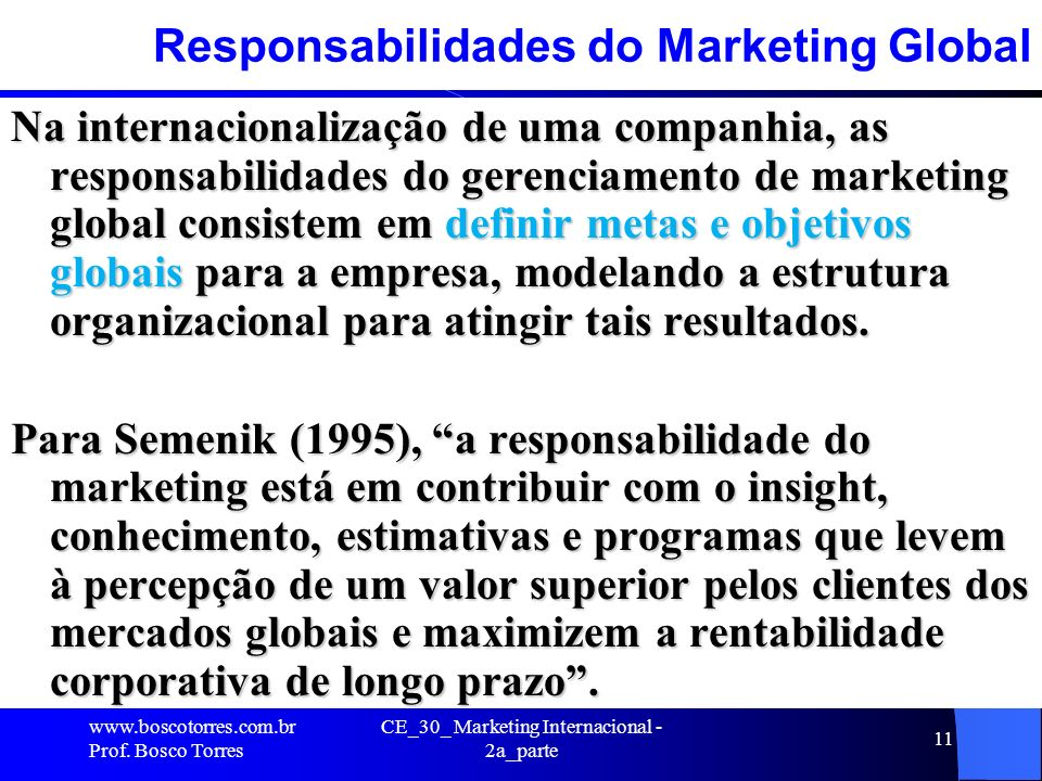 Responsabilidades do Marketing Global