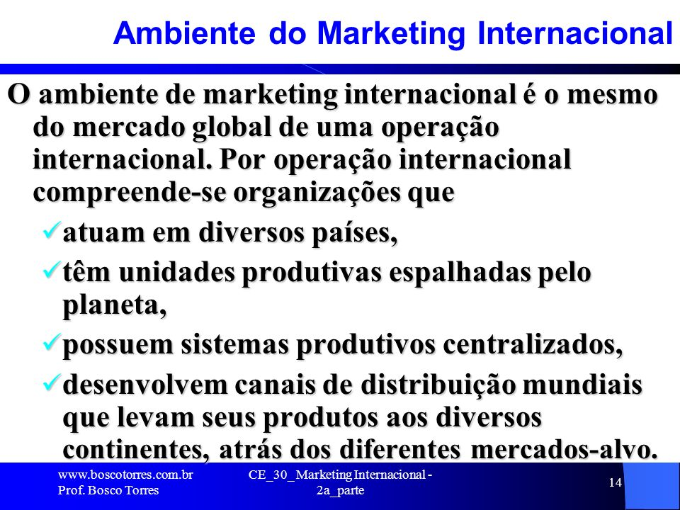 Ambiente do Marketing Internacional