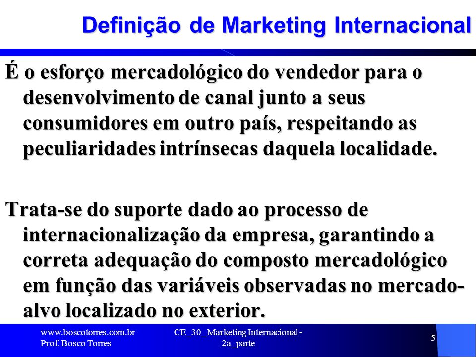 Definição de Marketing Internacional