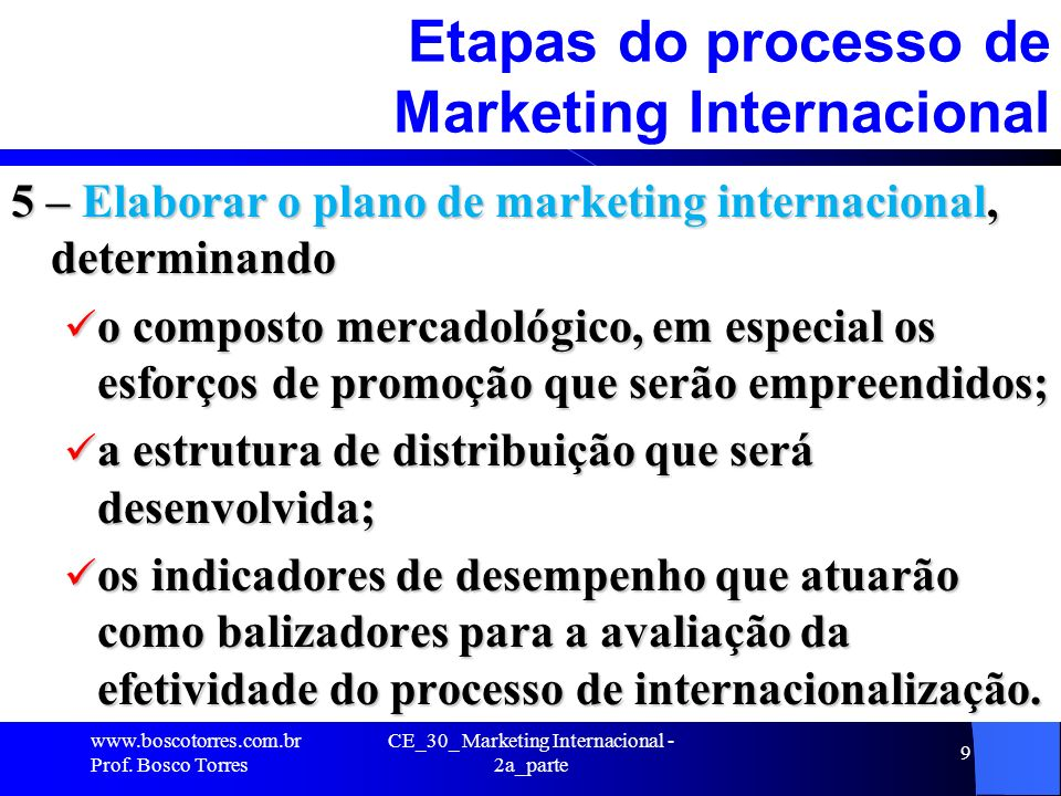 Etapas do processo de Marketing Internacional