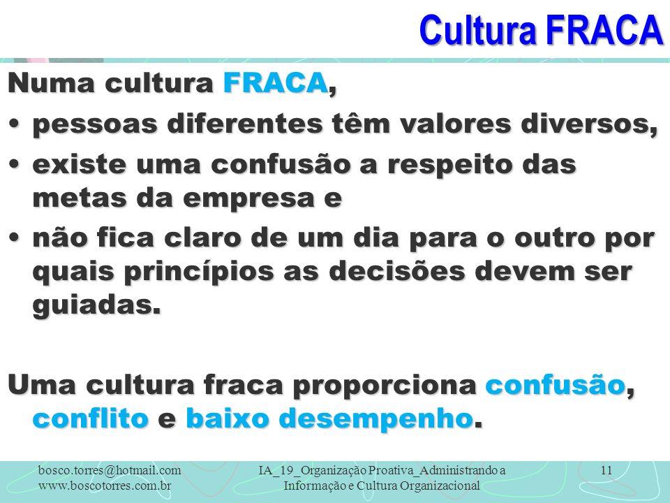 Cultura FRACA Numa cultura FRACA,
