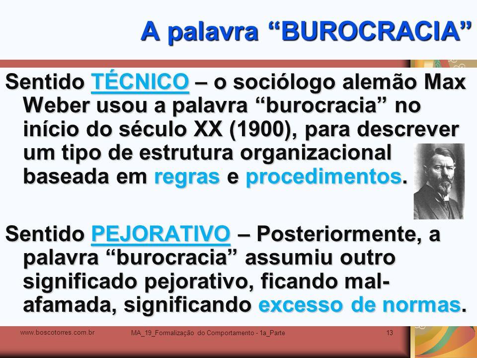 A palavra BUROCRACIA