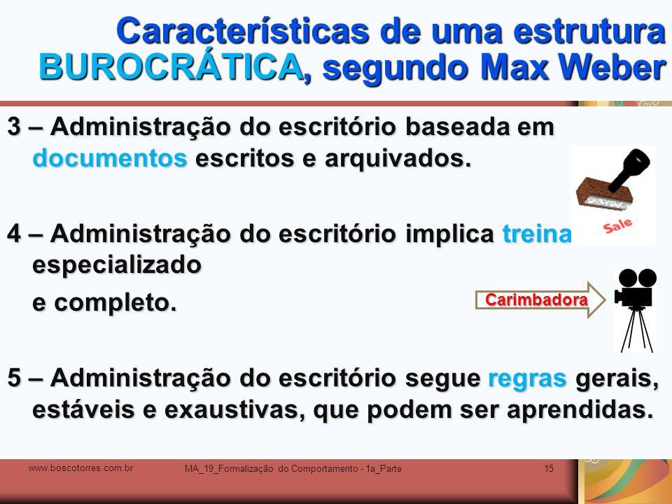Características de uma estrutura BUROCRÁTICA, segundo Max Weber