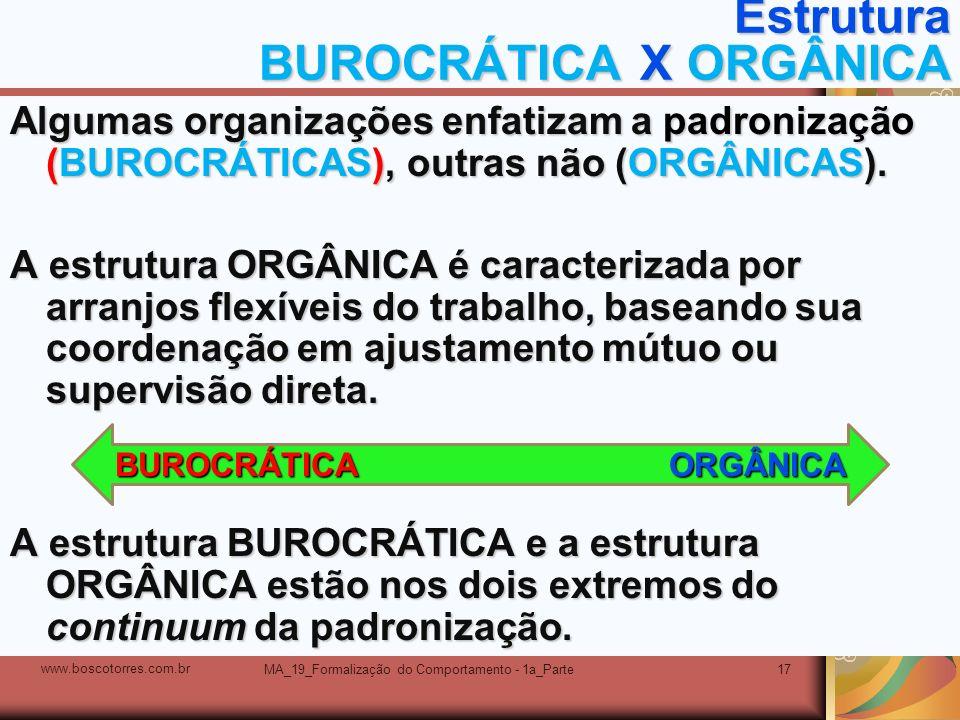 Estrutura BUROCRÁTICA X ORGÂNICA