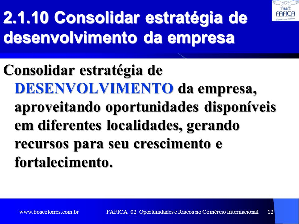 2.1.10 Consolidar estratégia de desenvolvimento da empresa