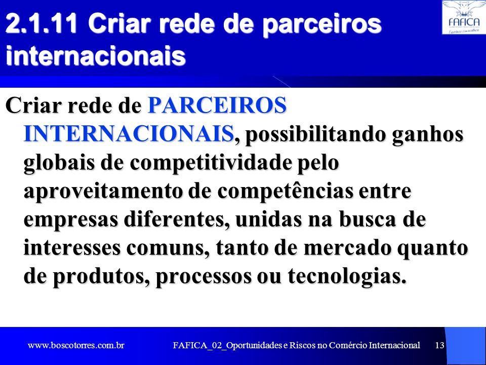 2.1.11 Criar rede de parceiros internacionais