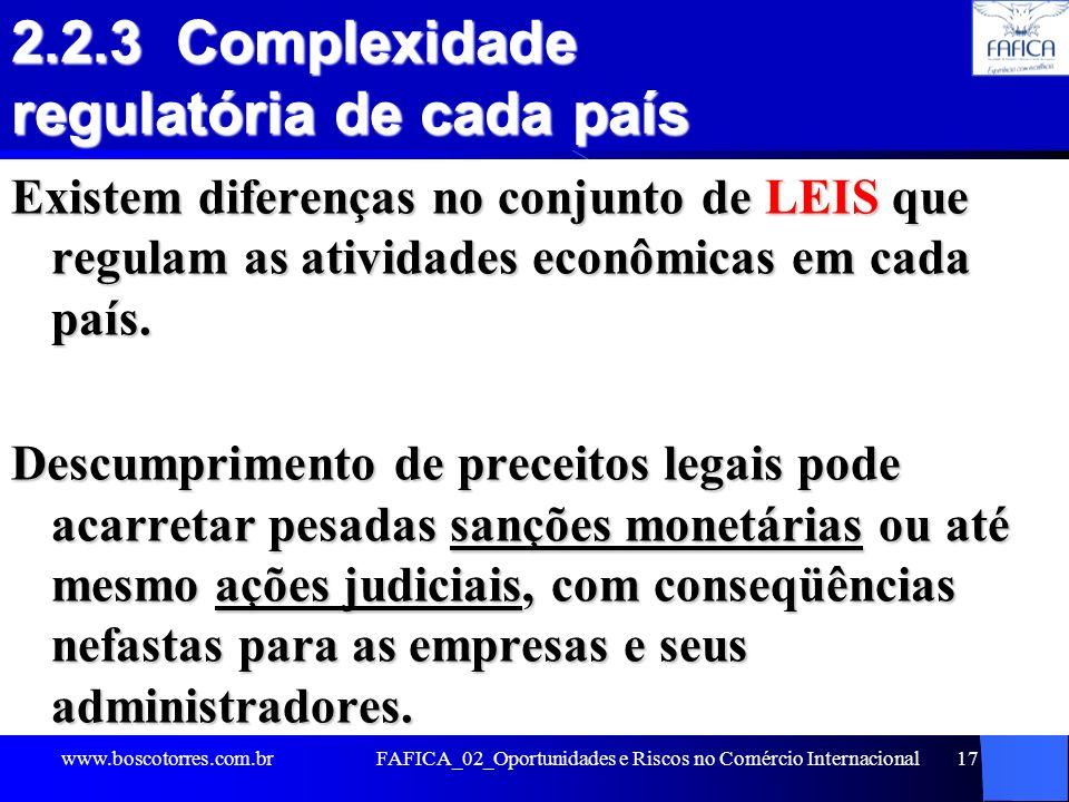 2.2.3 Complexidade regulatória de cada país