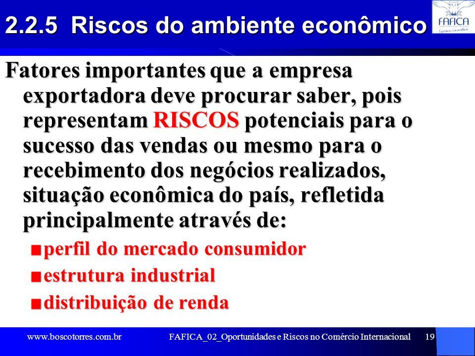 2.2.5 Riscos do ambiente econômico