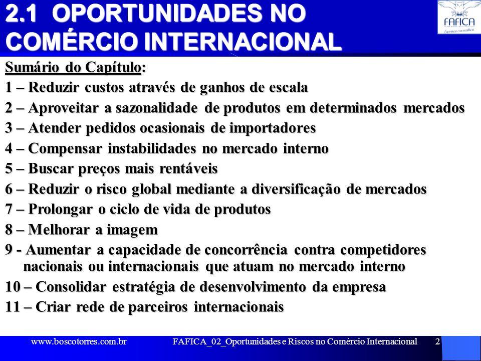 2.1 OPORTUNIDADES NO COMÉRCIO INTERNACIONAL