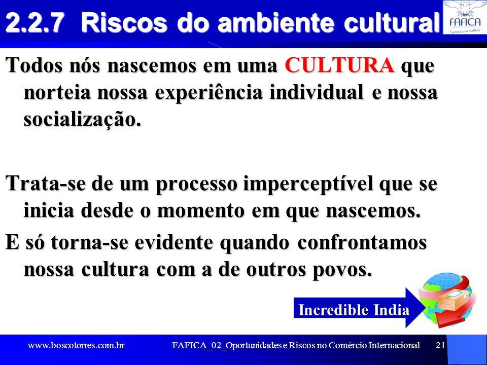 2.2.7 Riscos do ambiente cultural