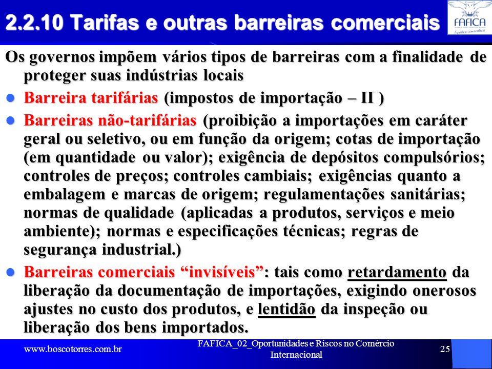 2.2.10 Tarifas e outras barreiras comerciais