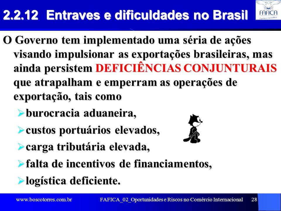 2.2.12 Entraves e dificuldades no Brasil