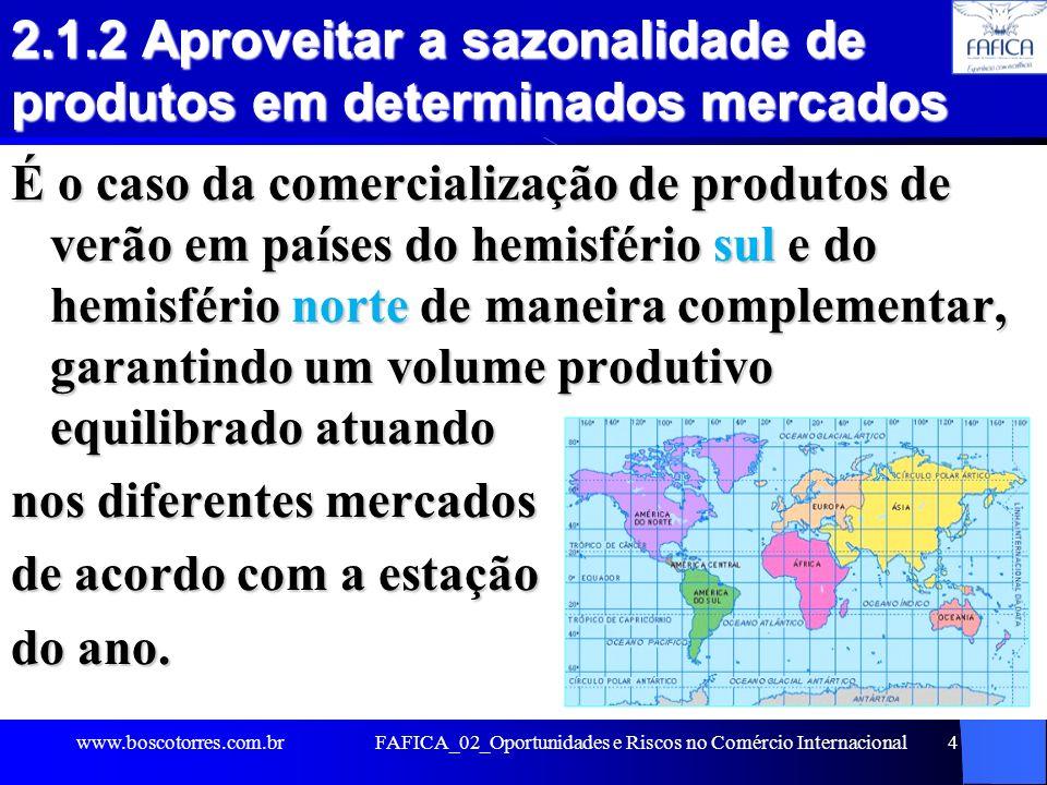 2.1.2 Aproveitar a sazonalidade de produtos em determinados mercados