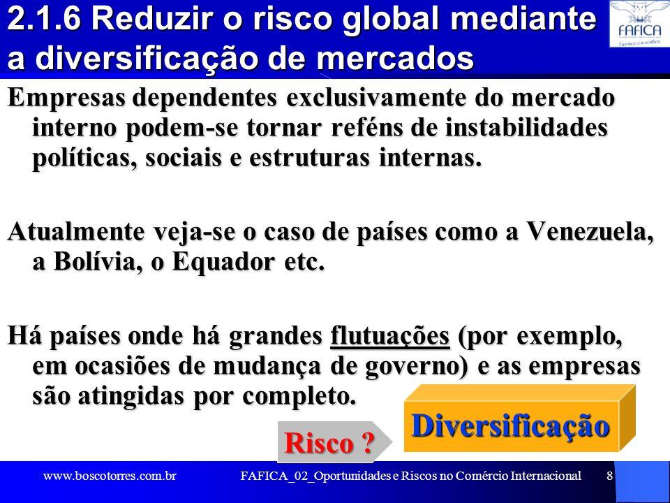 2.1.6 Reduzir o risco global mediante a diversificação de mercados