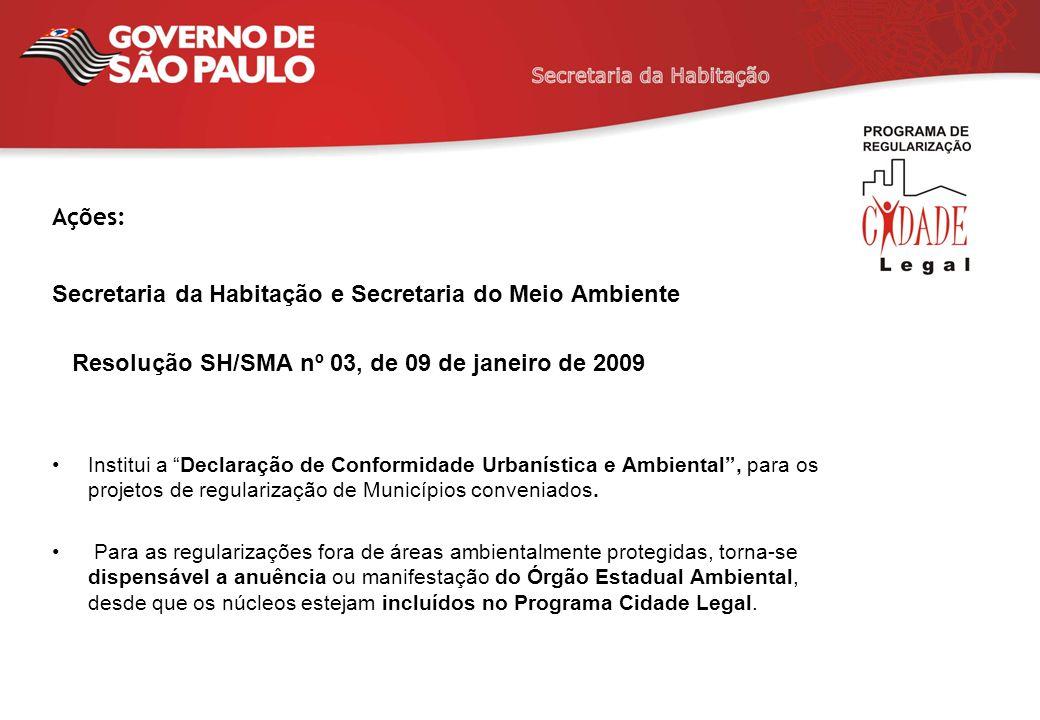 Secretaria da Habitação e Secretaria do Meio Ambiente