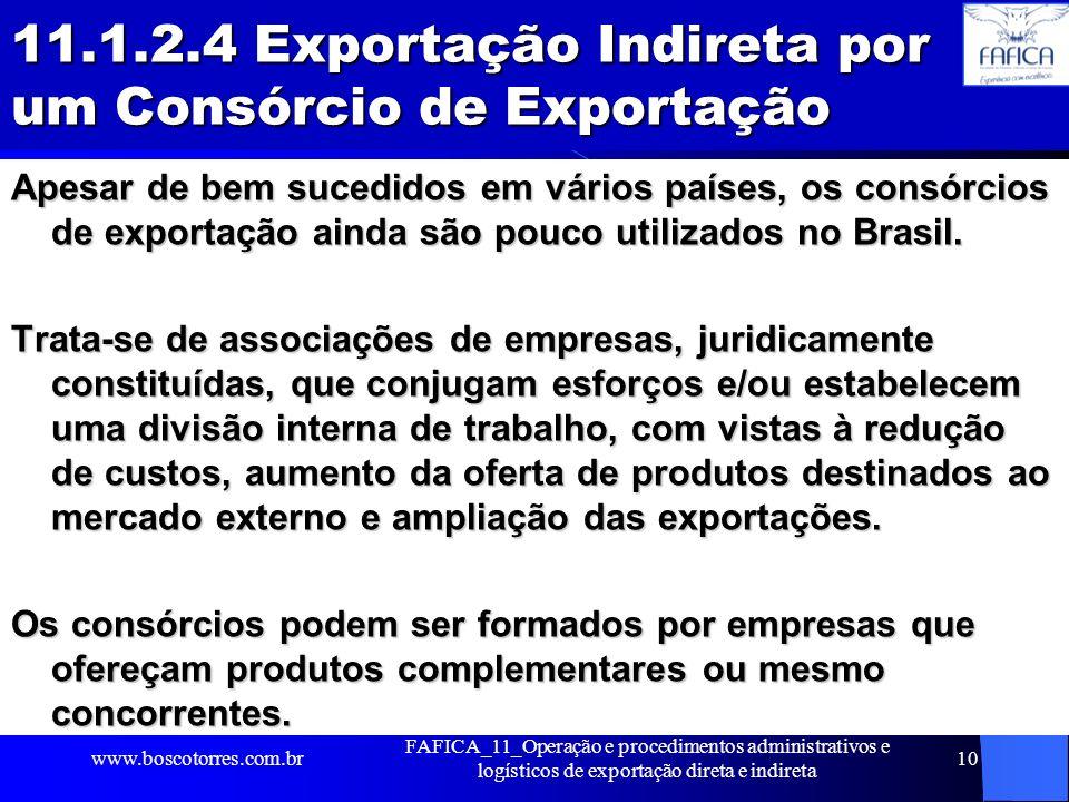 11.1.2.4 Exportação Indireta por um Consórcio de Exportação