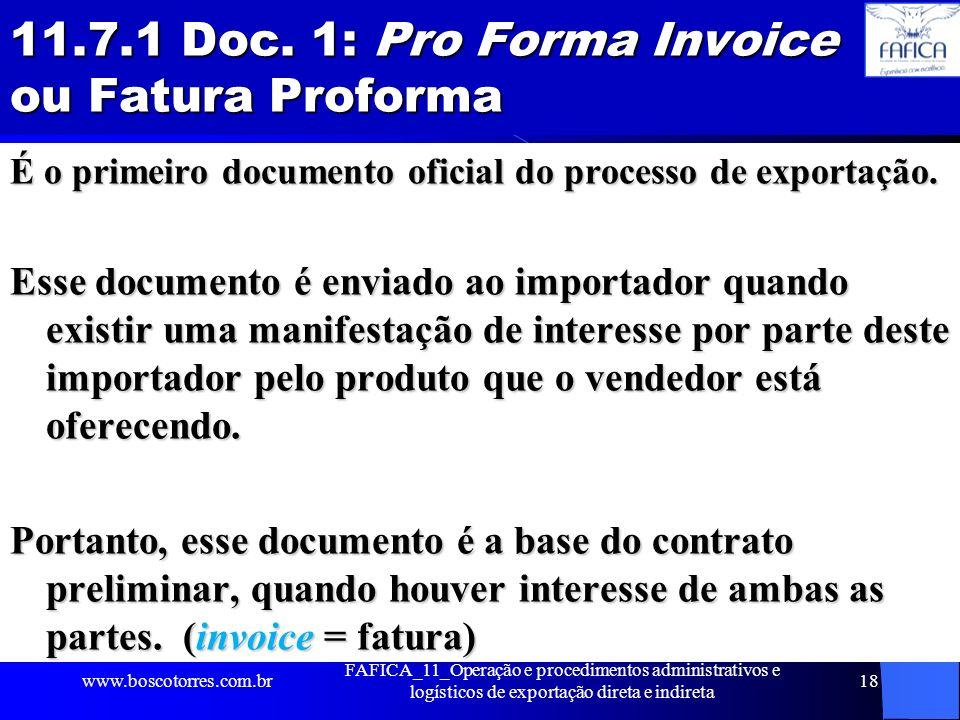 11.7.1 Doc. 1: Pro Forma Invoice ou Fatura Proforma