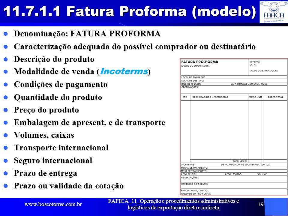 11.7.1.1 Fatura Proforma (modelo)