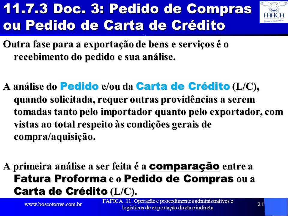 11.7.3 Doc. 3: Pedido de Compras ou Pedido de Carta de Crédito