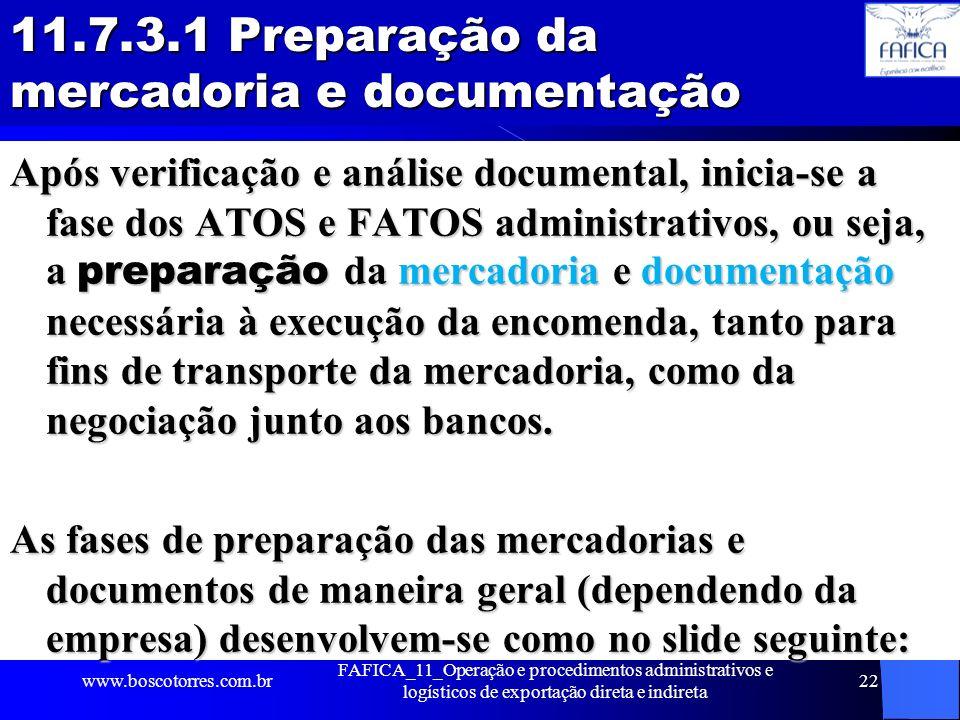 11.7.3.1 Preparação da mercadoria e documentação