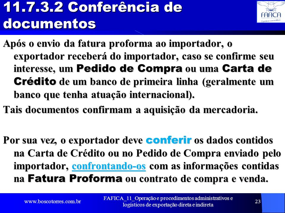 11.7.3.2 Conferência de documentos