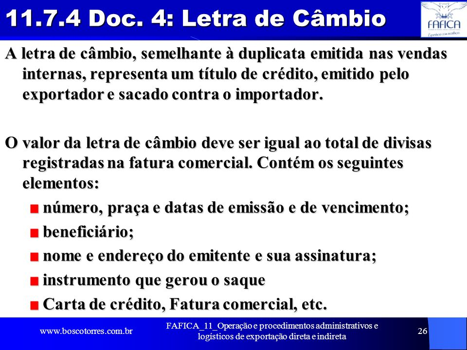 11.7.4 Doc. 4: Letra de Câmbio