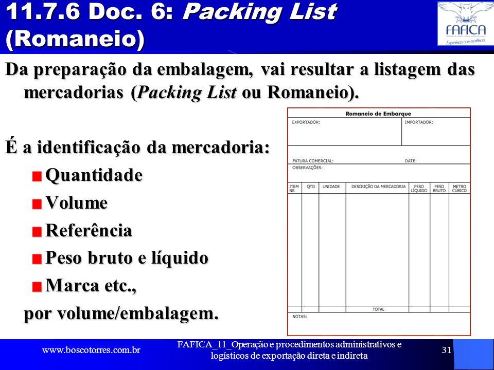 11.7.6 Doc. 6: Packing List (Romaneio)