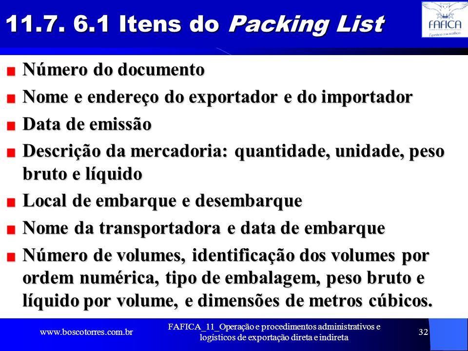 11.7. 6.1 Itens do Packing List Número do documento