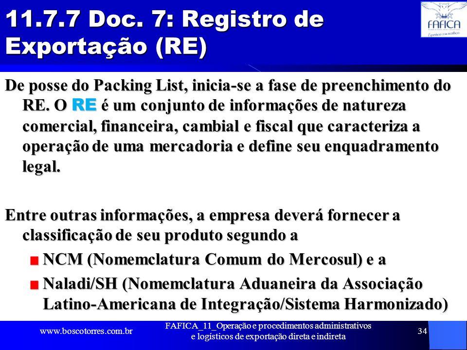 11.7.7 Doc. 7: Registro de Exportação (RE)