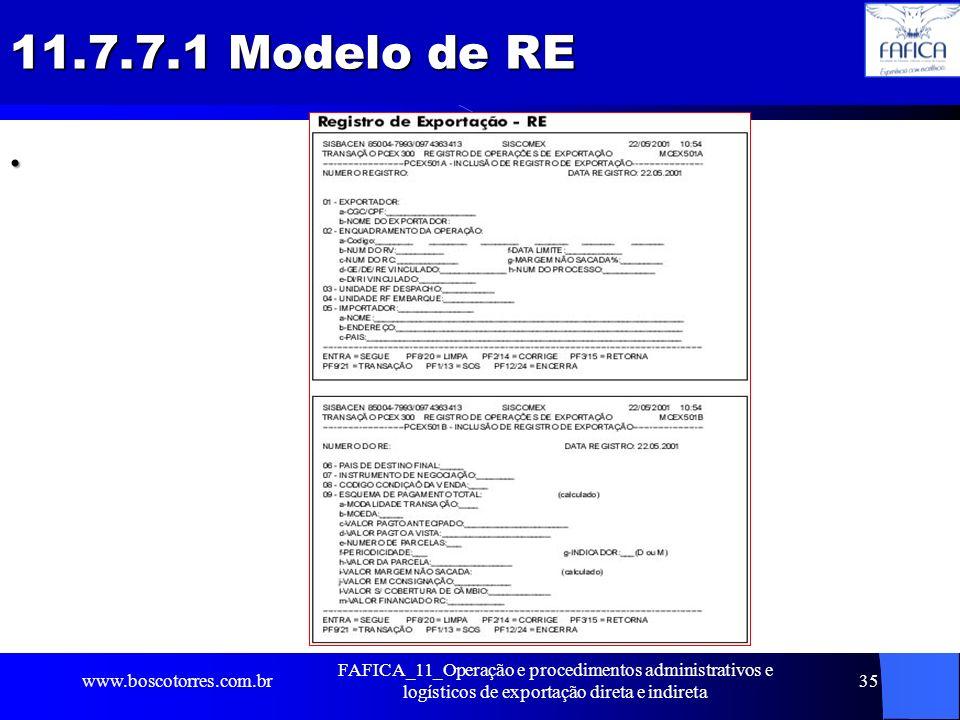 11.7.7.1 Modelo de RE . www.boscotorres.com.br.