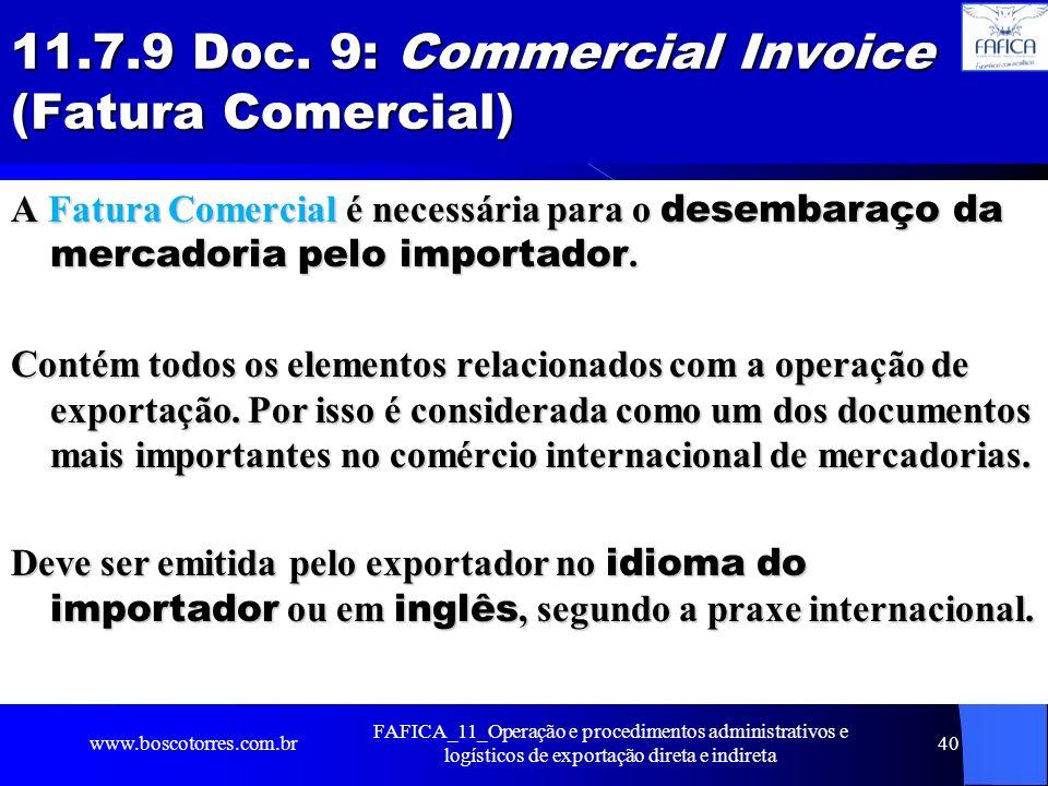 11.7.9 Doc. 9: Commercial Invoice (Fatura Comercial)